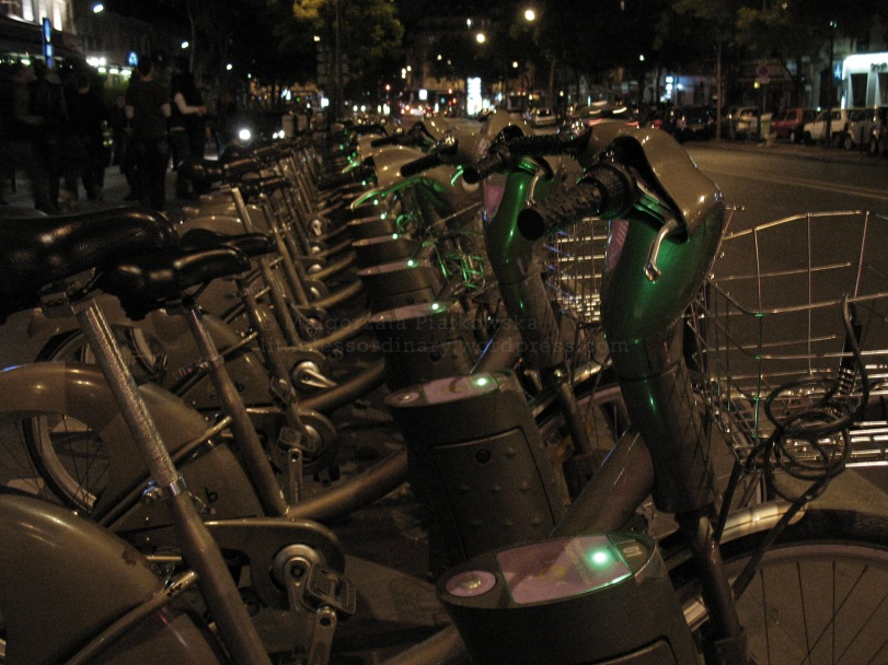 Paris, one of many Velib (bike rental system) stations